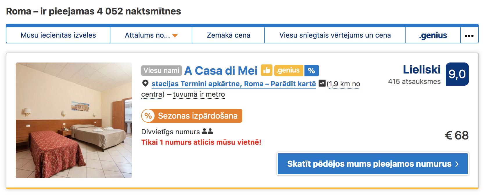 Booking.com atlaide - Piemērs