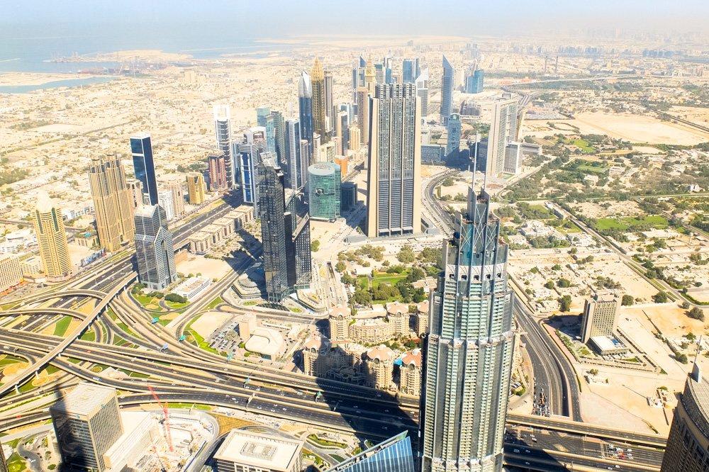 Skats no Burj Khalifa torņa - Labākās viesnīcas Dubaijā