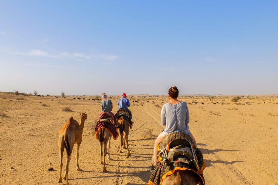 Braucot ar kamieli tuksnesī Indijā
